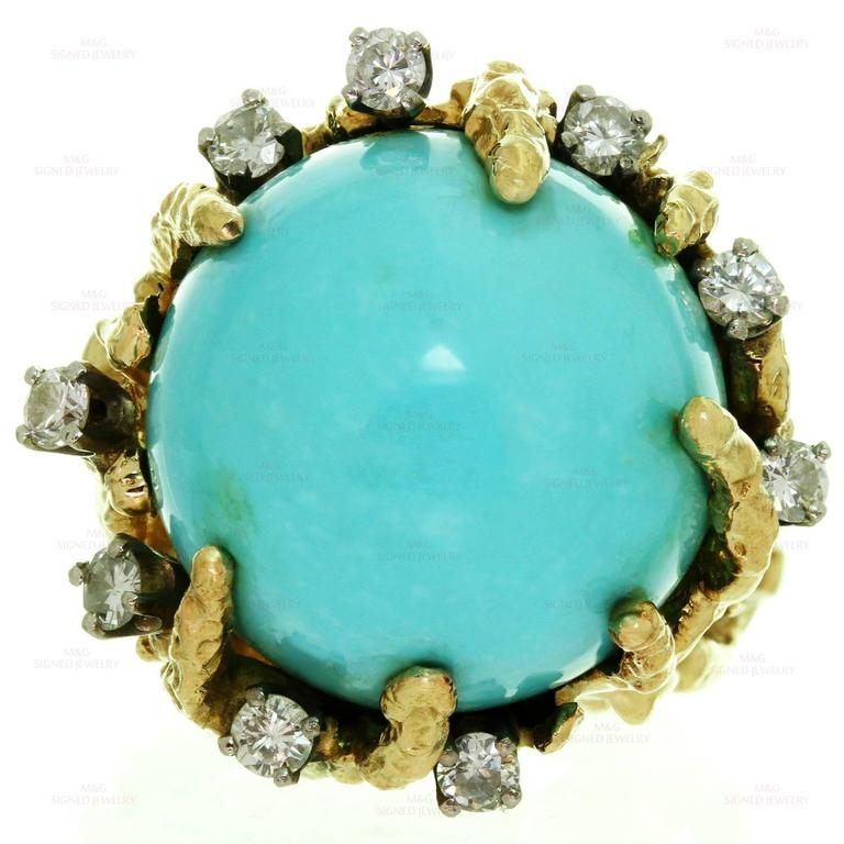 1960s Turquoise Diamond Nugget Yellow Gold Ring 4