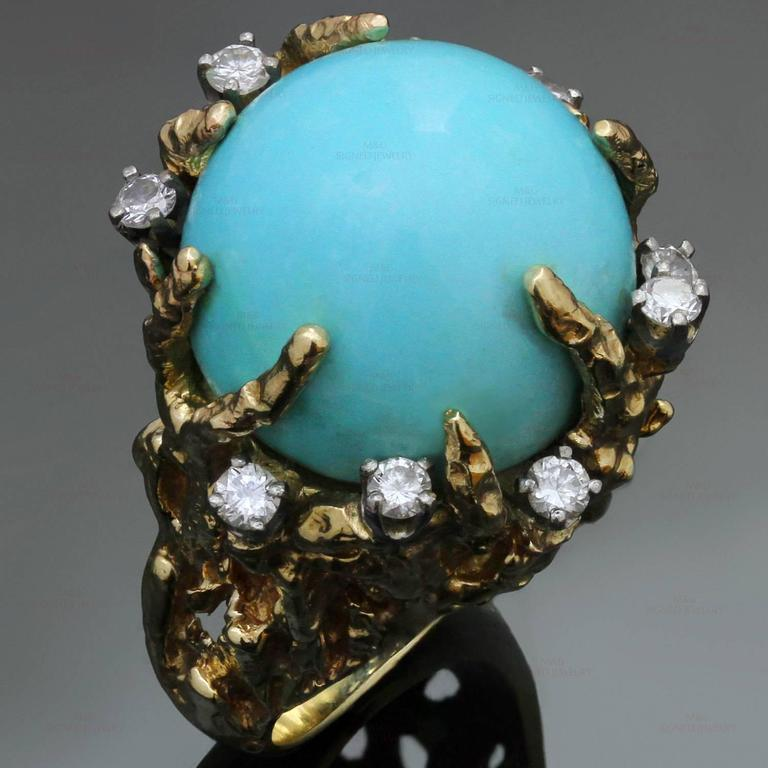1960s Turquoise Diamond Nugget Yellow Gold Ring 2