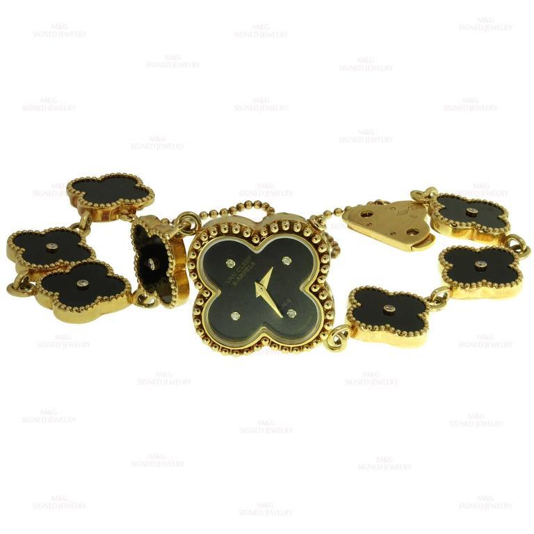 Van Cleef & Arpels Alhambra Onyx Diamond Yellow Gold Watch For Sale 1