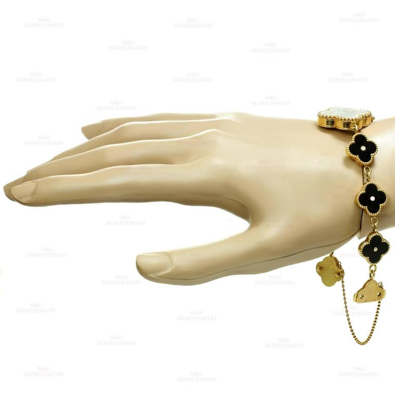 Women's Van Cleef & Arpels Alhambra Onyx Diamond Yellow Gold Watch For Sale
