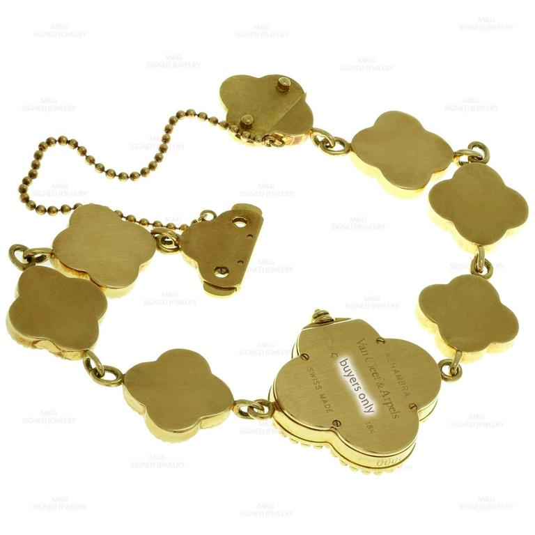 Van Cleef & Arpels Alhambra Onyx Diamond Yellow Gold Watch For Sale 2