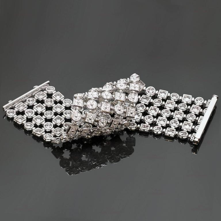 Diamond White Gold Wide Flexible Bracelet For Sale 3