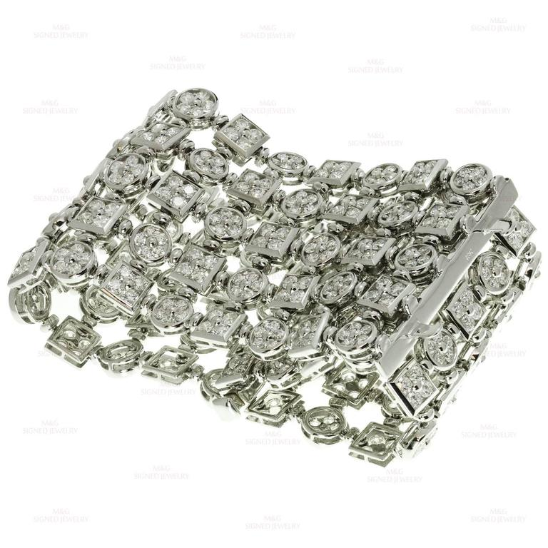 Diamond White Gold Wide Flexible Bracelet For Sale 1