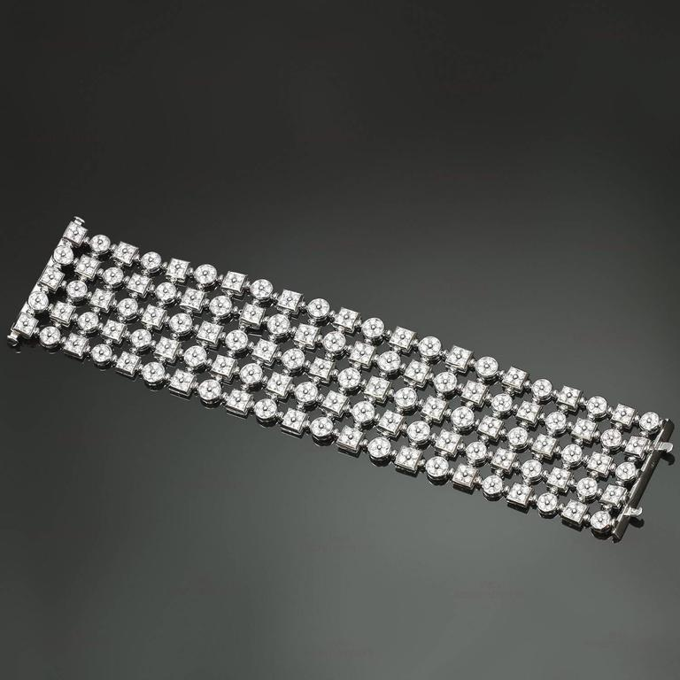 Diamond White Gold Wide Flexible Bracelet For Sale 2
