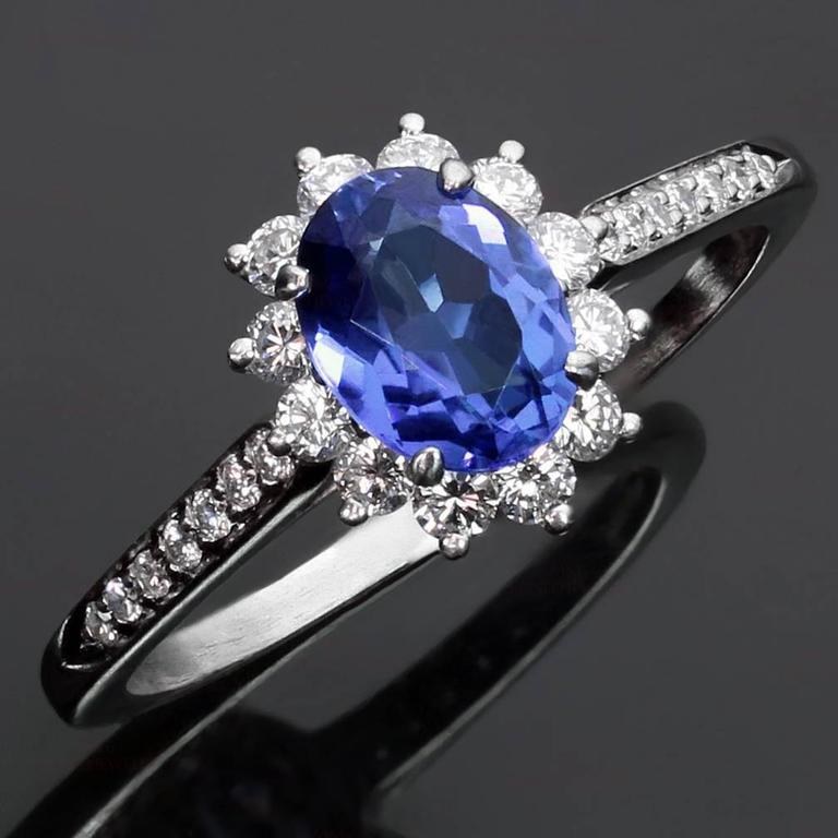 Tiffany and co genuine tanzanite diamond platinum ring for What is platinum jewelry made of