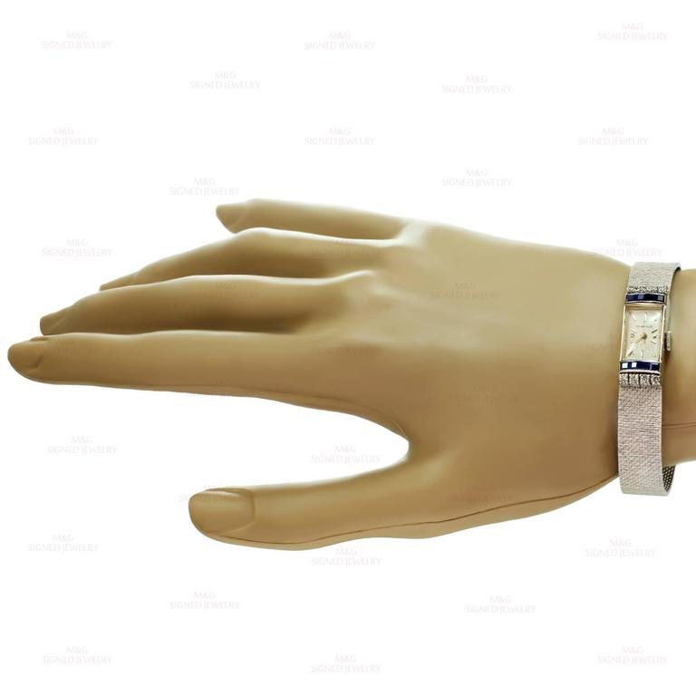 Tiffany & Co. Ladies White Gold Diamond Blue Sapphire mechanical Wristwatch  4