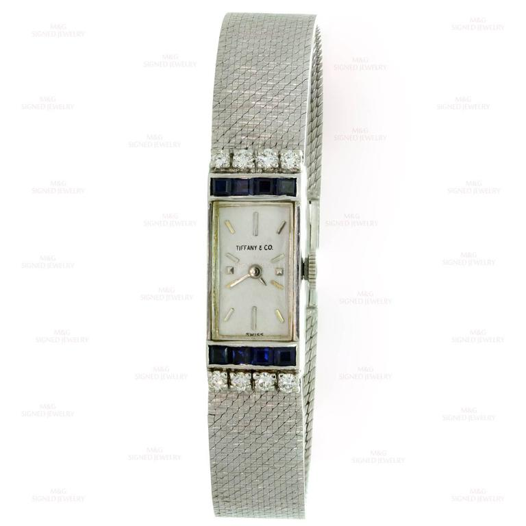 Tiffany & Co. Ladies White Gold Diamond Blue Sapphire mechanical Wristwatch  2
