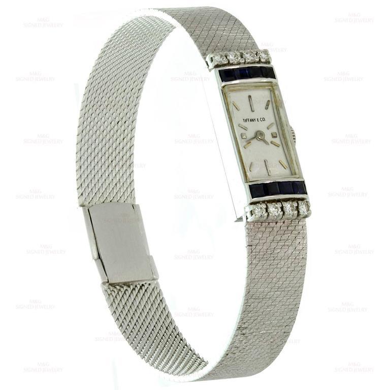 Tiffany & Co. Ladies White Gold Diamond Blue Sapphire mechanical Wristwatch  5