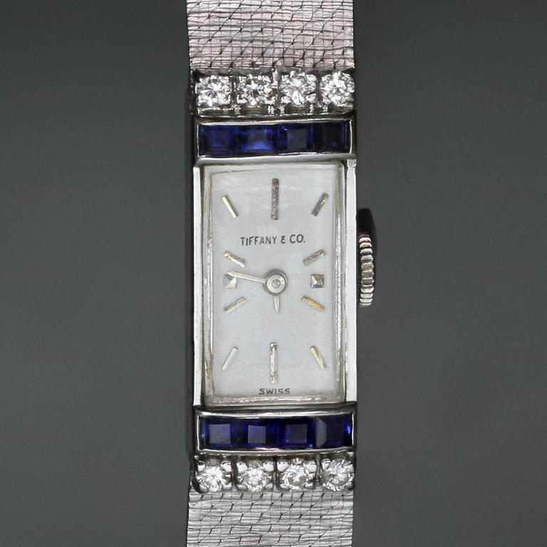 Tiffany & Co. Ladies White Gold Diamond Blue Sapphire mechanical Wristwatch  3