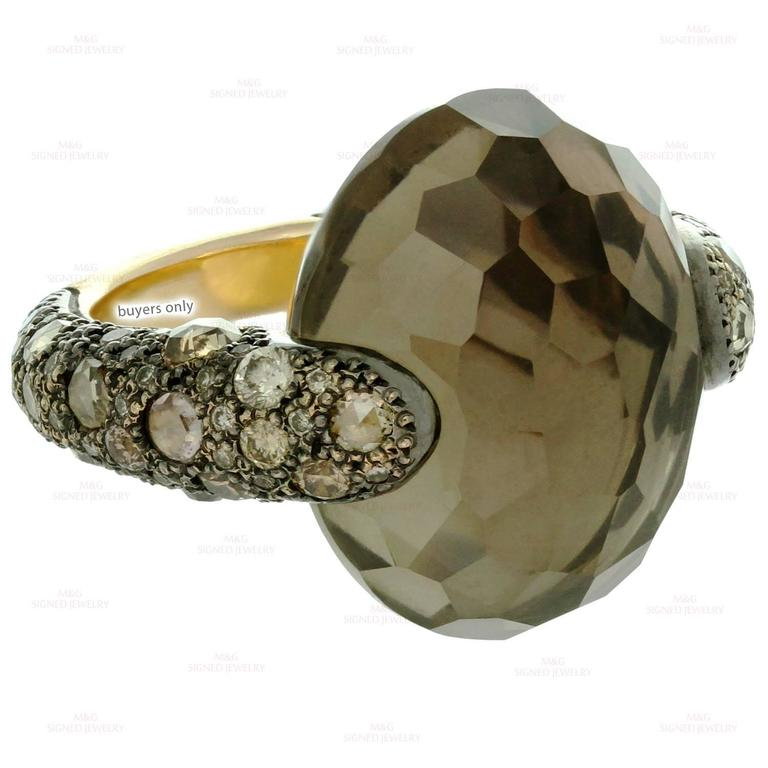 Pomellato Sabbia Smoky Topaz Champagne Diamond Yellow Gold Ring. Sz 6.75 - EU 54 For Sale 3