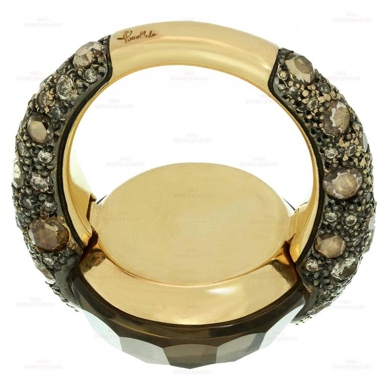 Women's Pomellato Sabbia Smoky Topaz Champagne Diamond Yellow Gold Ring. Sz 6.75 - EU 54 For Sale