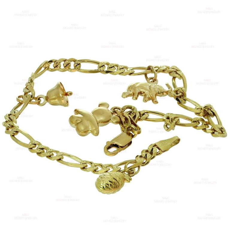 Yellow Gold Charm Ankle Bracelet In Excellent Condition For Sale In New York, NY