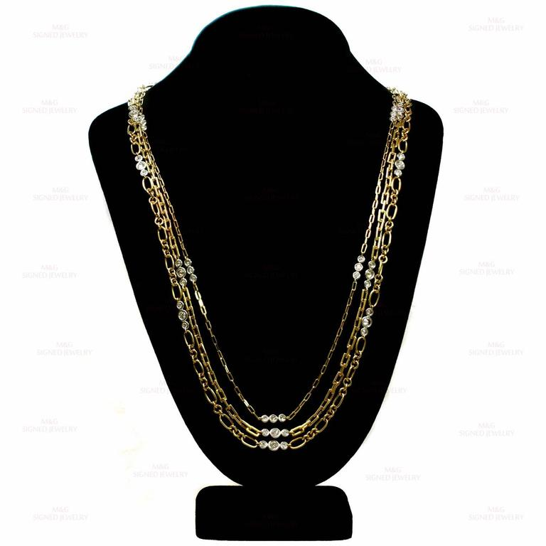 Women's David Webb Diamond Platinum Yellow Gold Long Chain Necklace For Sale