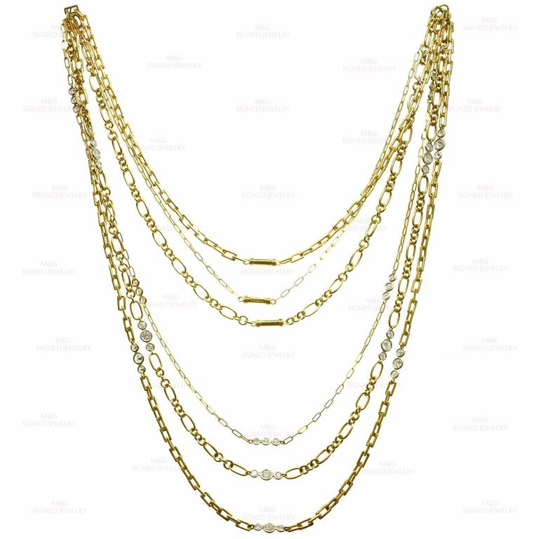 David Webb Diamond Platinum Yellow Gold Long Chain Necklace For Sale 1