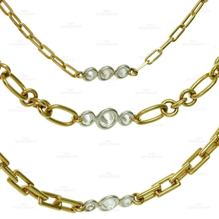David Webb Diamond Platinum Yellow Gold Long Chain Necklace For Sale 2