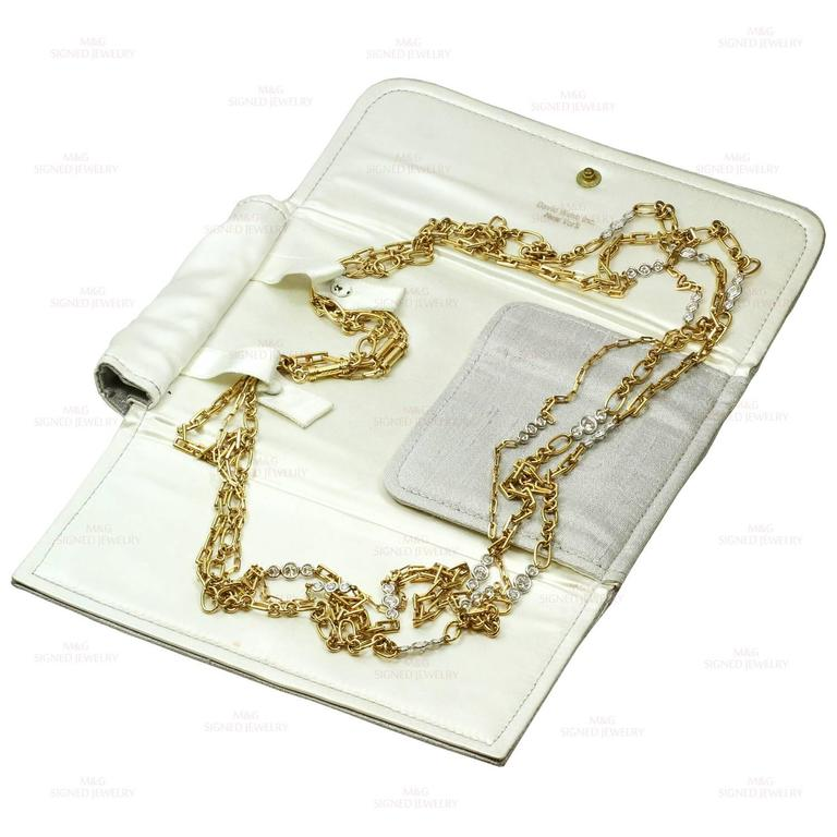 David Webb Diamond Platinum Yellow Gold Long Chain Necklace In Good Condition For Sale In New York, NY