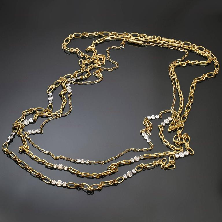 David Webb Diamond Platinum Yellow Gold Long Chain Necklace For Sale 4
