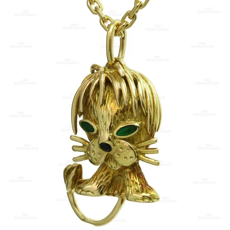 Van Cleef & Arpels Emerald Yellow Gold Lion Pendant Necklace 3