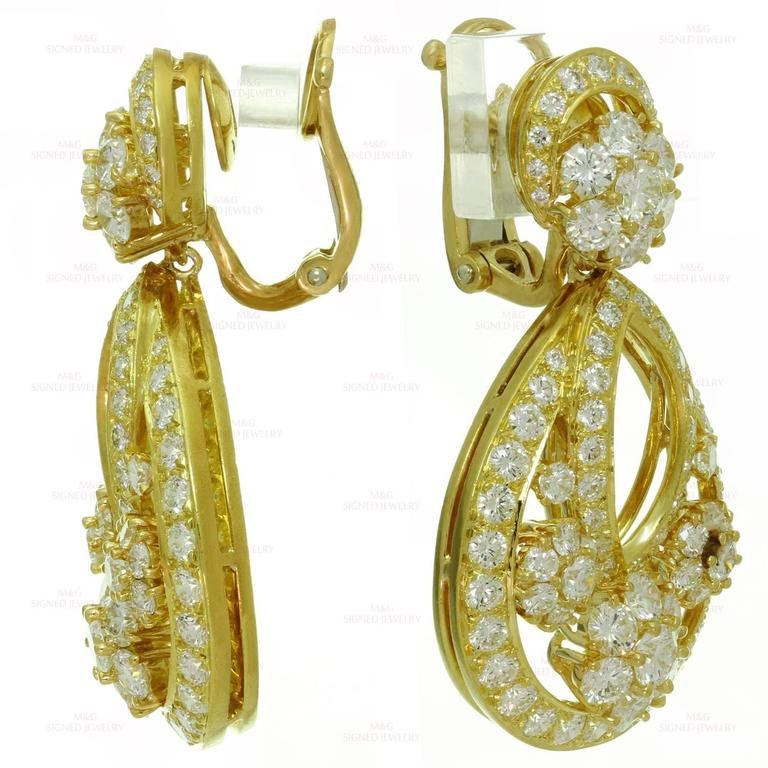 Van Cleef & Arpels Snowflake Diamond Yellow Gold Clip-On Drop Earrings 5
