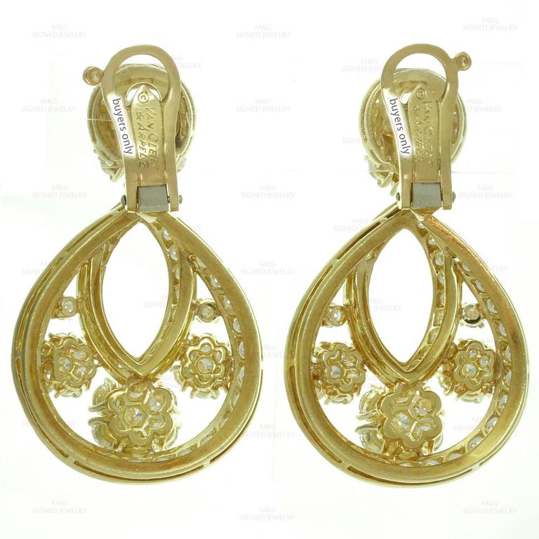 Van Cleef & Arpels Snowflake Diamond Yellow Gold Clip-On Drop Earrings 6