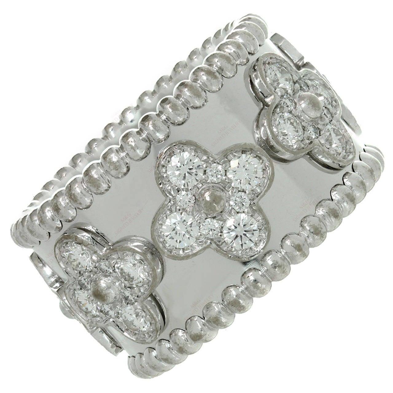 Van Cleef & Arpels Perlee Clover Diamond Gold Band Ring 1