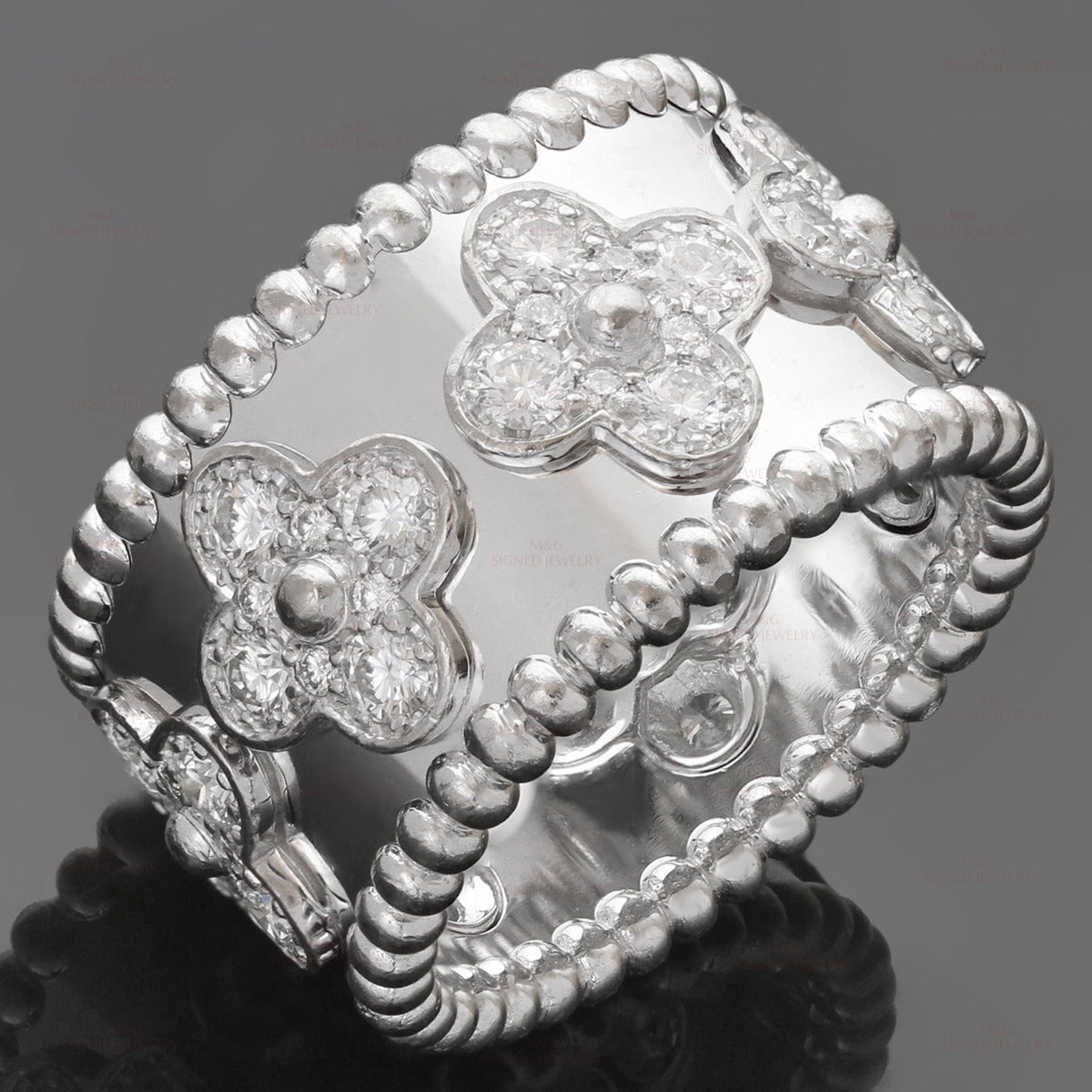 Van Cleef & Arpels Perlee Clover Diamond Gold Band Ring 6