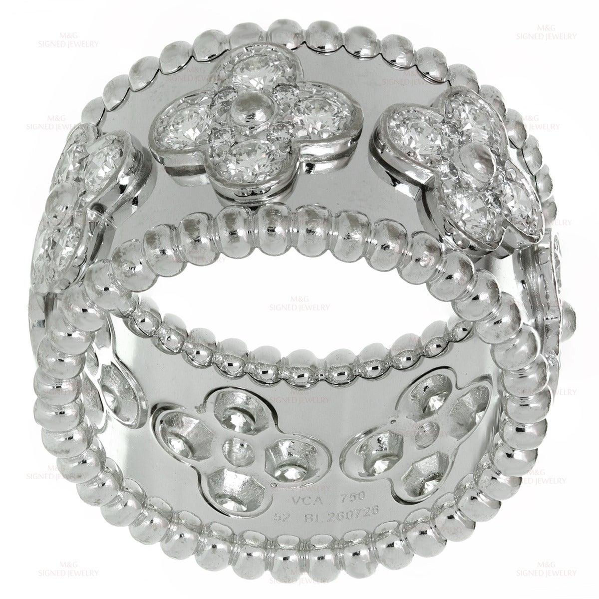 Van Cleef & Arpels Perlee Clover Diamond Gold Band Ring 2