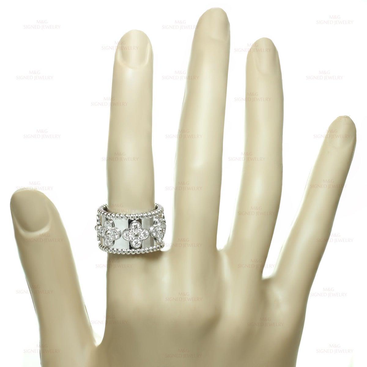 Van Cleef & Arpels Perlee Clover Diamond Gold Band Ring 3