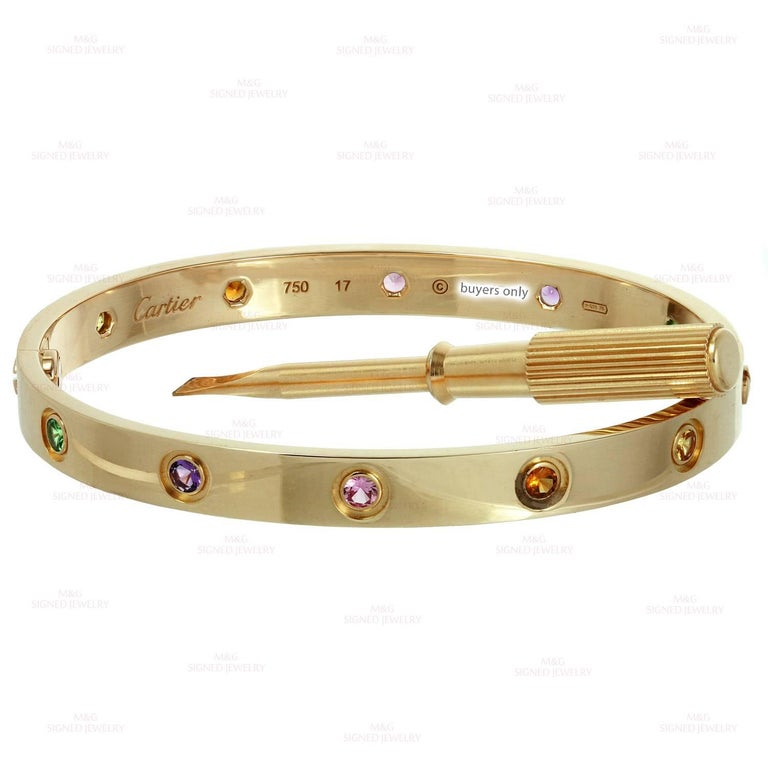 Cartier Love Ten Gemstone Gemstone Rose Gold Bracelet Sz.17 Box Papers, New Mod For Sale 1