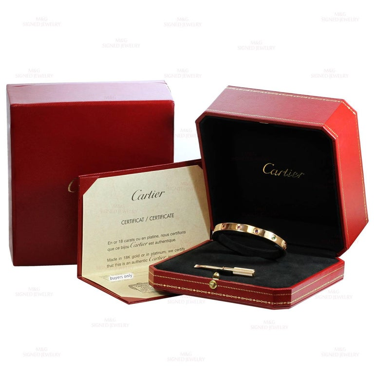 Cartier Love Ten Gemstone Gemstone Rose Gold Bracelet Sz.17 Box Papers, New Mod In Excellent Condition For Sale In New York, NY
