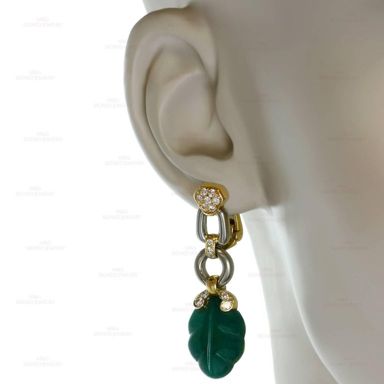 Cartier Green Onyx Diamond Yellow and White Gold Earrings 3