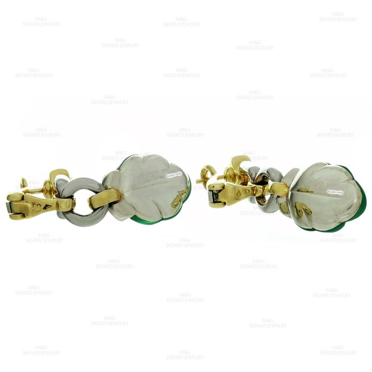 Cartier Green Onyx Diamond Yellow and White Gold Earrings 4