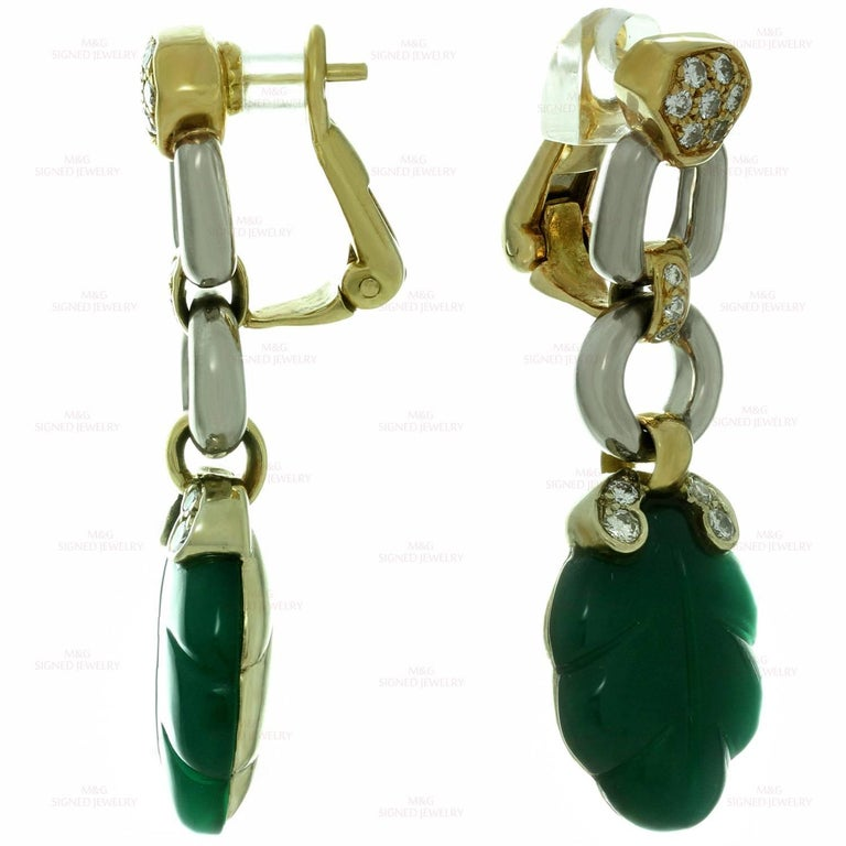 Cartier Green Onyx Diamond Yellow and White Gold Earrings 5
