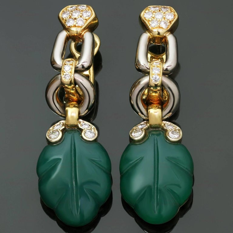 Cartier Green Onyx Diamond Yellow and White Gold Earrings 6