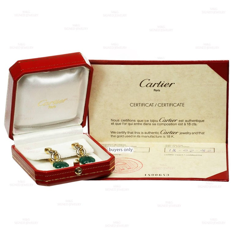 Cartier Green Onyx Diamond Yellow and White Gold Earrings 2