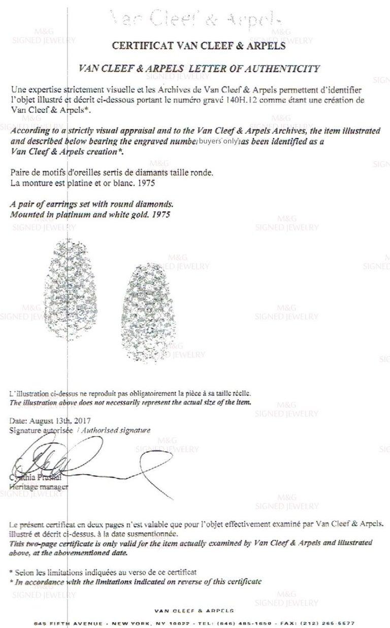 Van Cleef & Arpels Diamond Platinum Earrings For Sale 3
