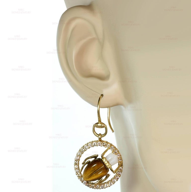 5896e630581 Gucci Diamond Sapphire Agate Tiger Eye Yellow Gold Scarab Beetle Earrings  In Excellent Condition For Sale