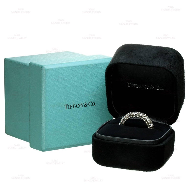 Tiffany & Co. Diamond Platinum Band Ring In Excellent Condition For Sale In New York, NY