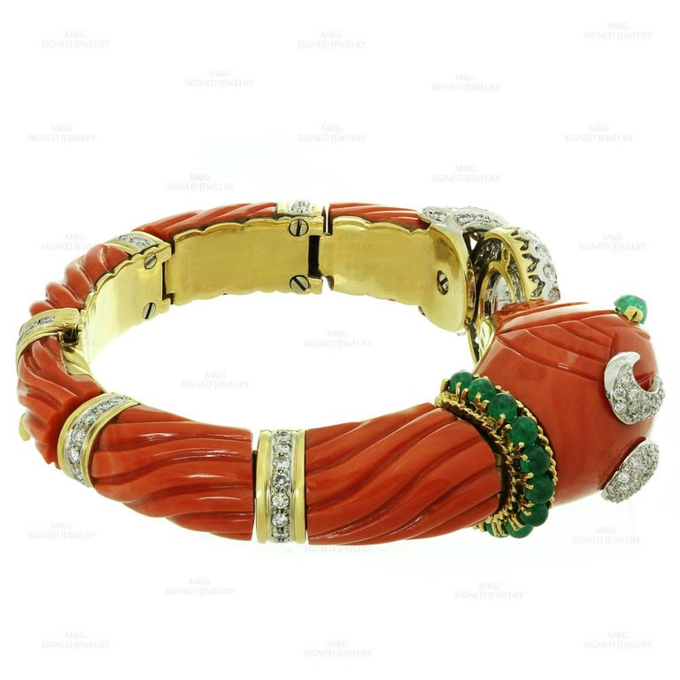 Women's Roberto Legnazzi Natural Carved Coral Diamond Emerald Gold Chimera Bracelet For Sale