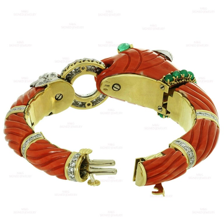 Roberto Legnazzi Natural Carved Coral Diamond Emerald Gold Chimera Bracelet For Sale 1