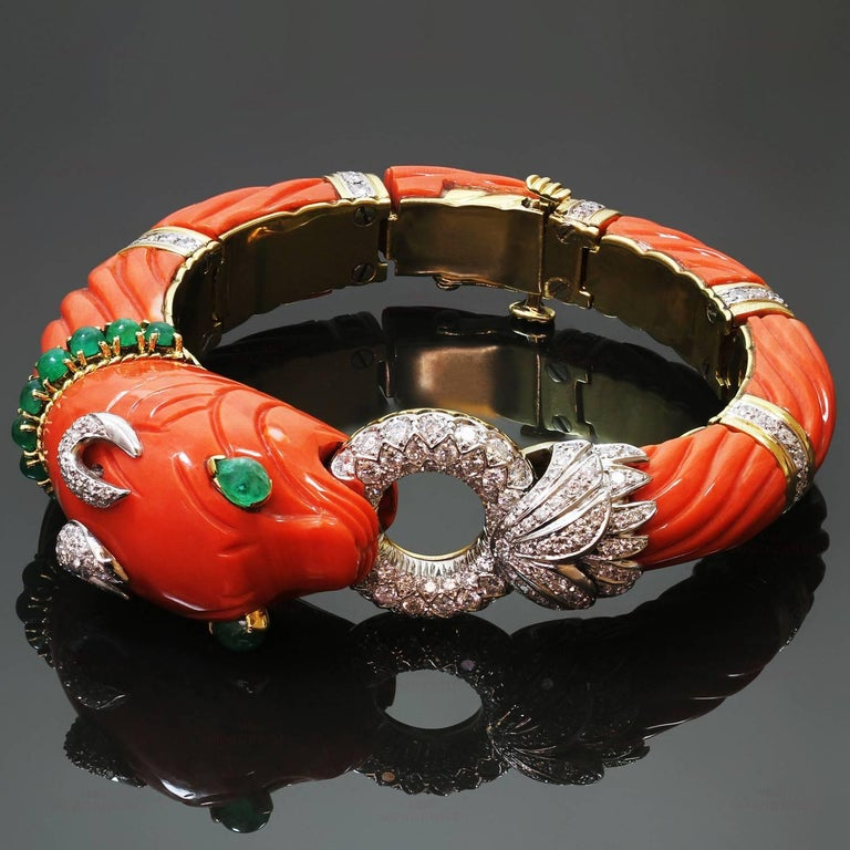Roberto Legnazzi Natural Carved Coral Diamond Emerald Gold Chimera Bracelet For Sale 2