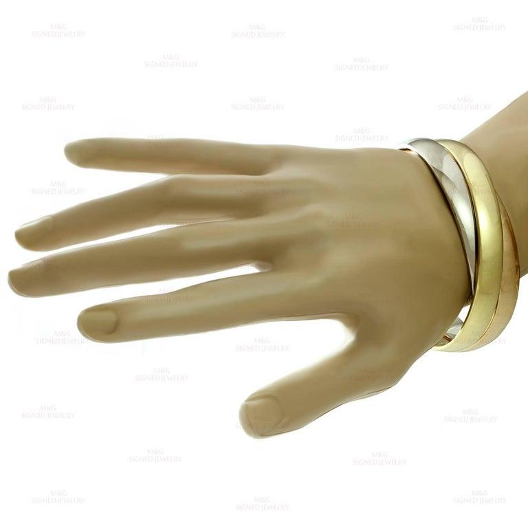 Women's Cartier Trinity Tri-Gold Large Bangle Bracelet For Sale