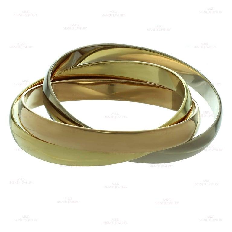Cartier Trinity Tri-Gold Large Bangle Bracelet For Sale 1