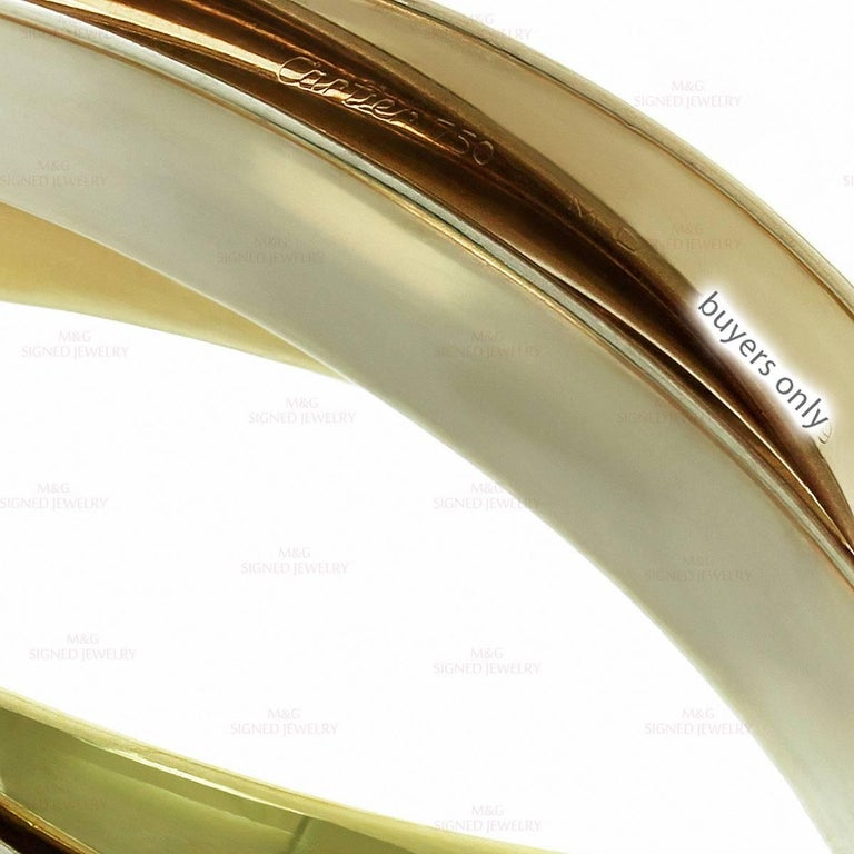 Cartier Trinity Tri-Gold Large Bangle Bracelet For Sale 2