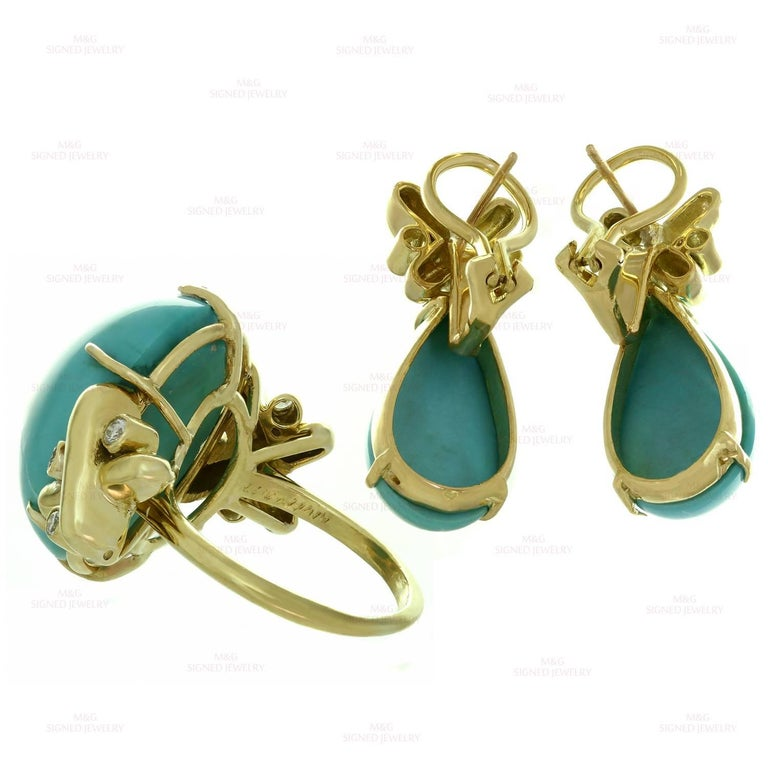 Turquoise Diamond Yellow Gold Detachable Brooch Necklace Ring and Earrings Set 6