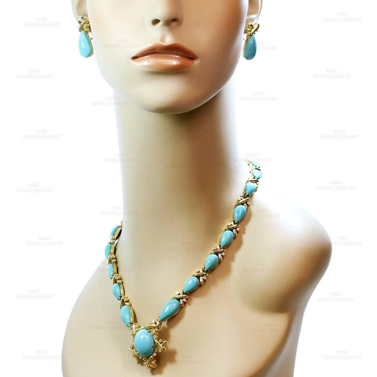 Turquoise Diamond Yellow Gold Detachable Brooch Necklace Ring and Earrings Set In Good Condition In New York, NY