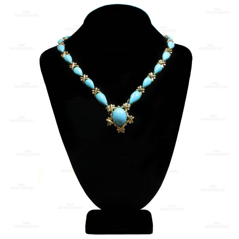 Turquoise Diamond Yellow Gold Detachable Brooch Necklace Ring and Earrings Set 4