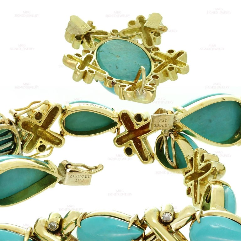 Turquoise Diamond Yellow Gold Detachable Brooch Necklace Ring and Earrings Set 3
