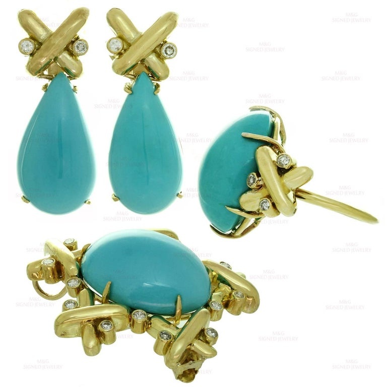 Turquoise Diamond Yellow Gold Detachable Brooch Necklace Ring and Earrings Set 2