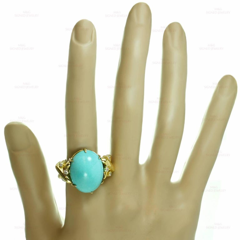Women's or Men's Turquoise Diamond Yellow Gold Detachable Brooch Necklace Ring and Earrings Set